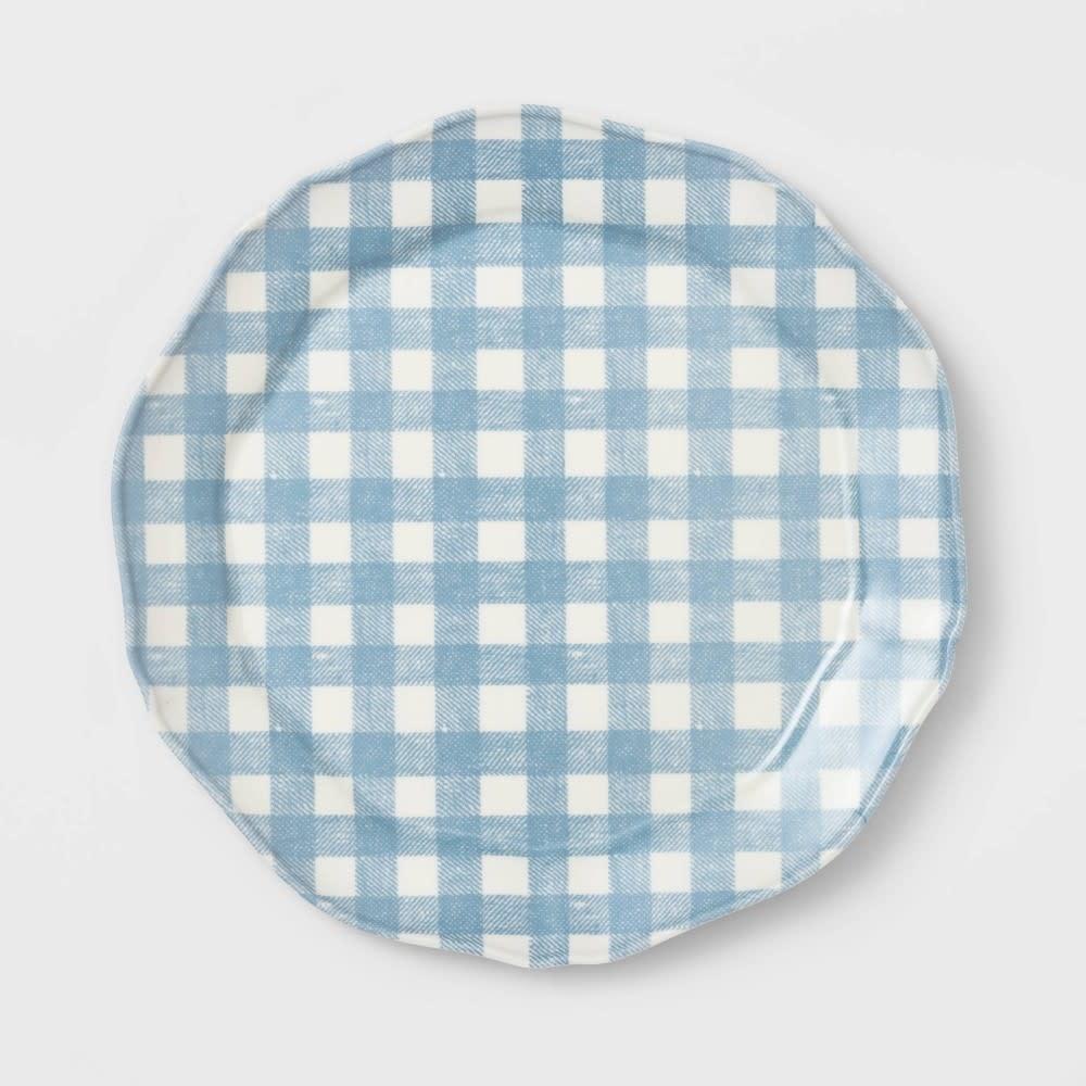 11 Melamine Gingham Dinner Plate Blue Thresholdâ D3 Surplus Outlet