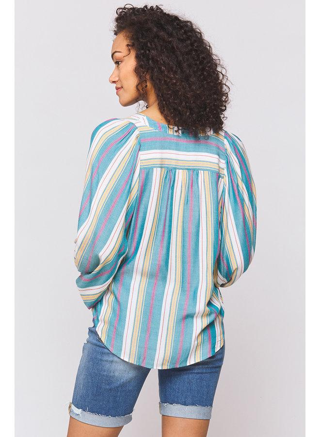 Balloon Sleeve Stripe Top