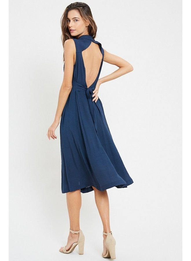 Open Back Collared Dress