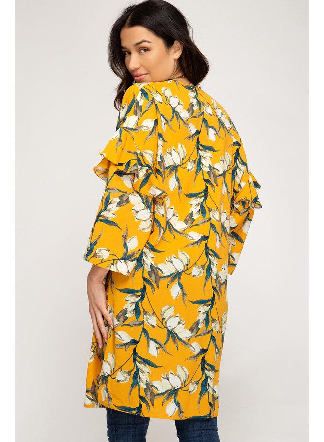 Ruffled Sleeve Kimono