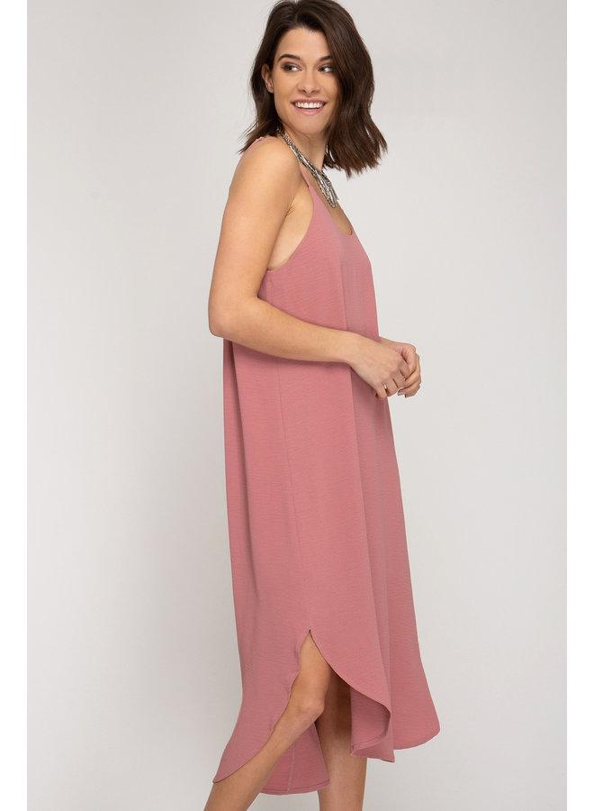 Rounded Hem Midi Dress