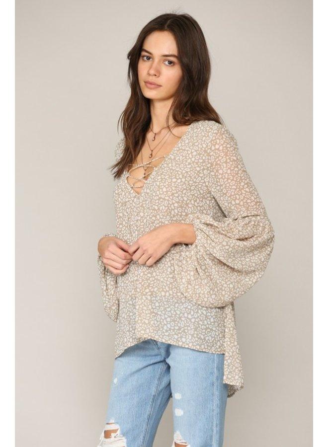 Leopard Lace-Up Top