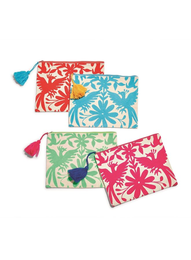 Embroidered Zipper Pouch