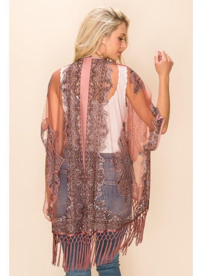 Sheer Kimono With Tassels
