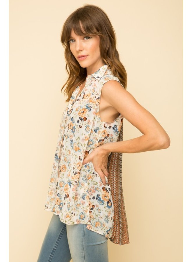Chiffon Top With Pleated Back