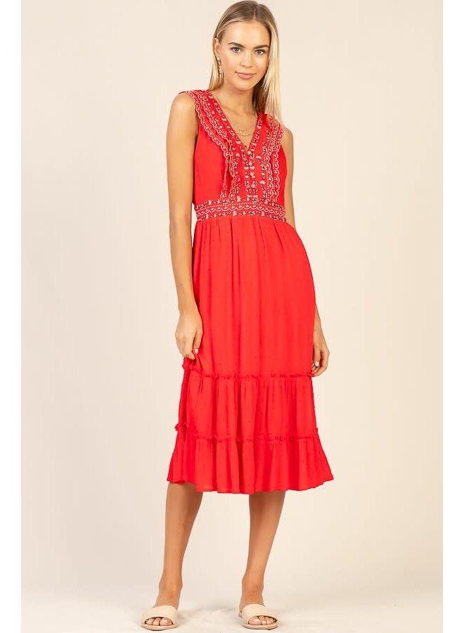 Embroidered Ruffle Midi Dress