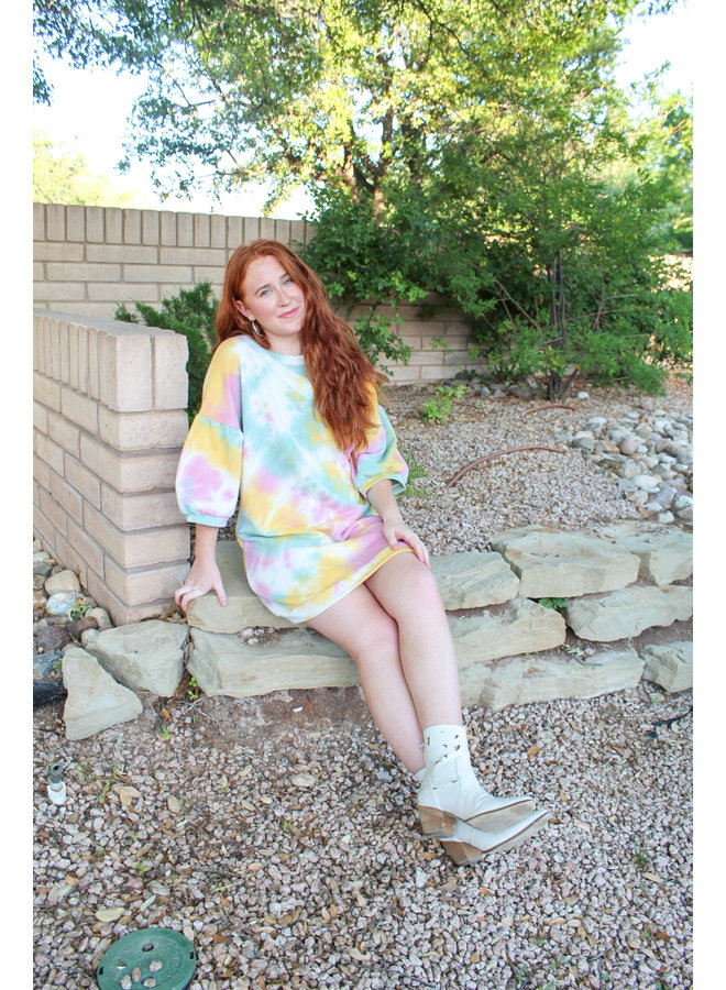 Tie-Dye Mini Sweatshirt Dress