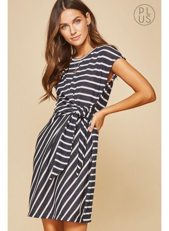 Front Wrap Striped Dress
