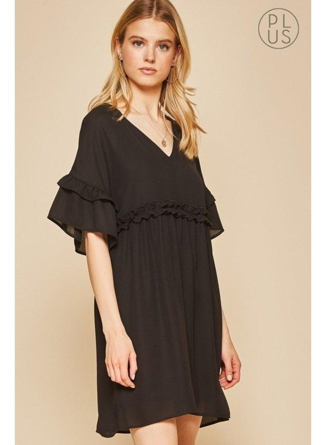 V-Neck Babydoll Dress With Ruffles