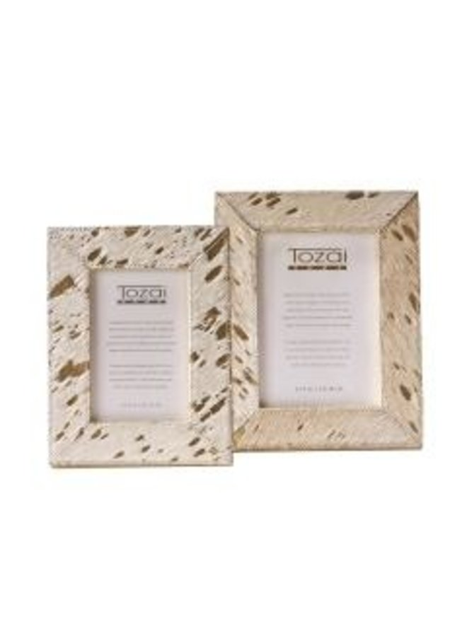 Metallic Cowhide Picture Frame, 5x7