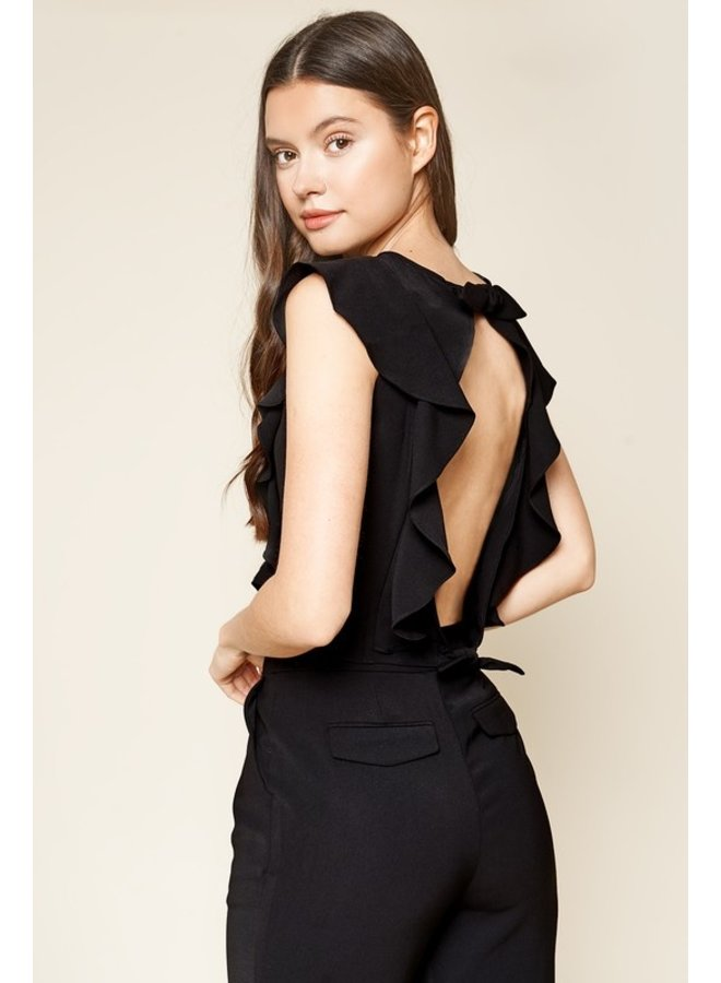 Ruffled Backless Crop Top