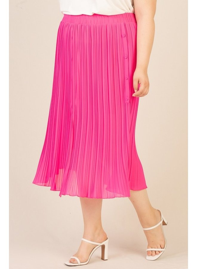 Neon Pleated Midi Skirt