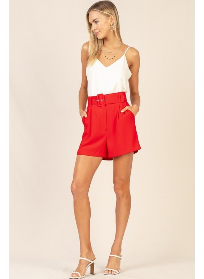 High-Waist Belted Shorts