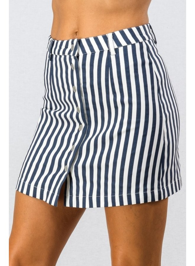 Striped Button-Front Mini Skirt