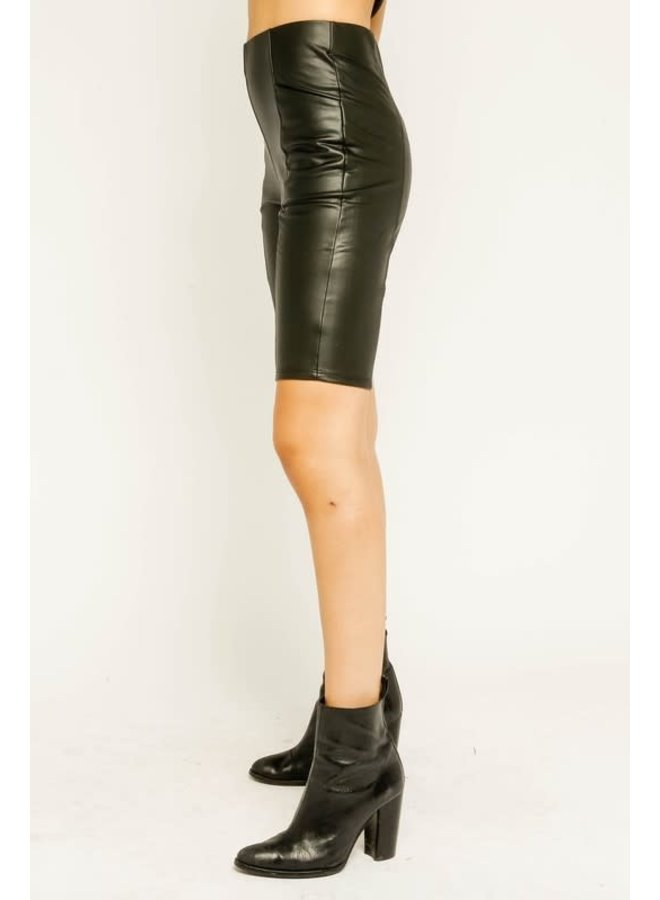 Vegan Leather Biker Shorts