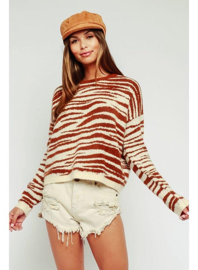 Tan Zebra Sweater