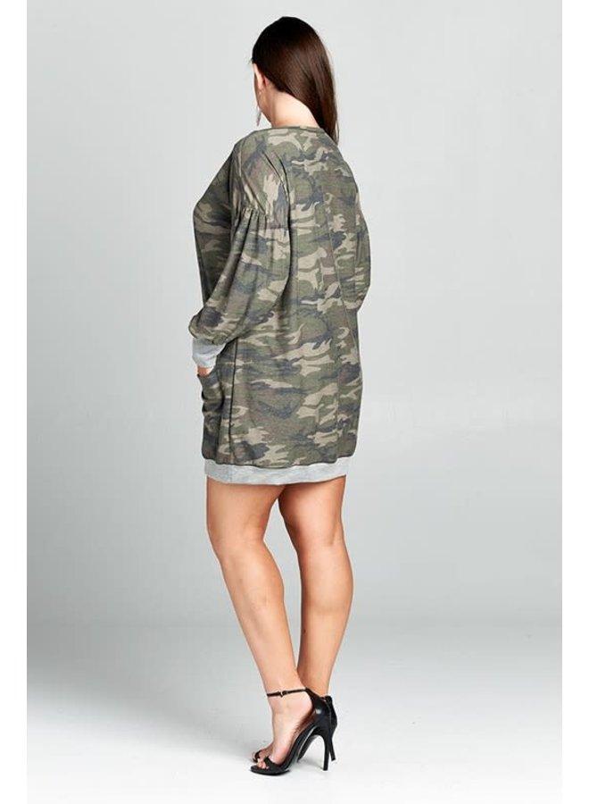Camo Sweatshirt Dress