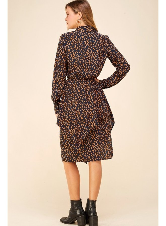 Asymmetrical Tiered Leopard Dress