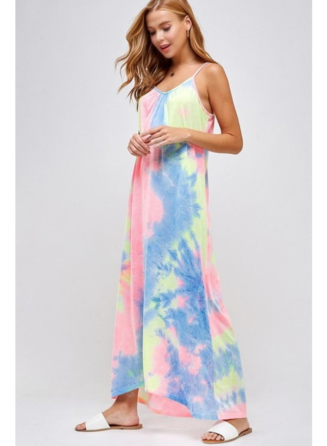 Neon Tie Dye Maxi Dress