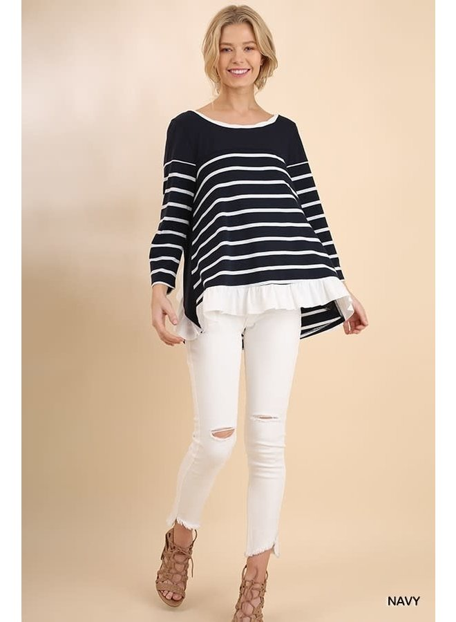 Striped Top With Ruffle Back