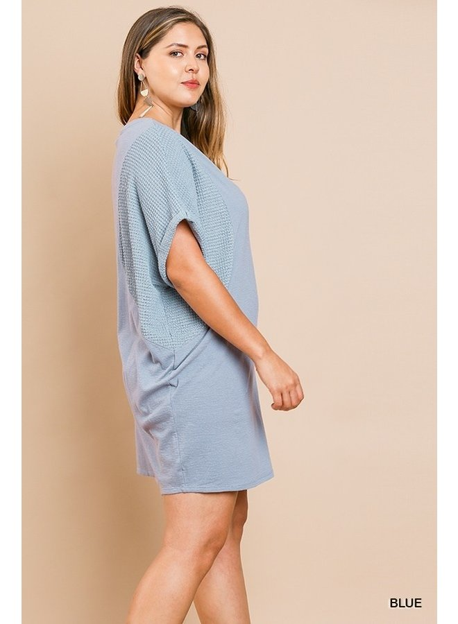Dolman Sleeve Waffle Knit Dress