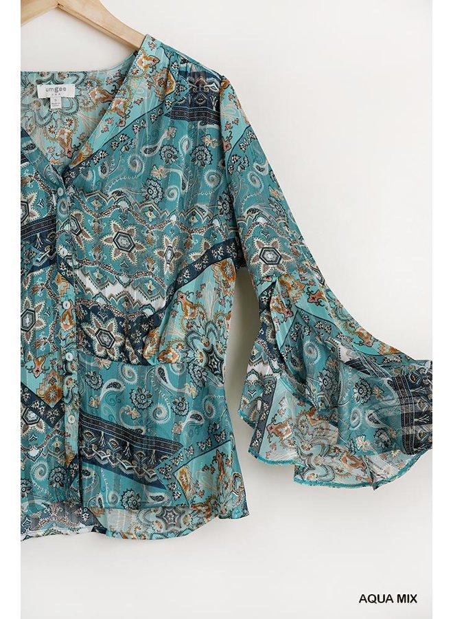 Paisley Print Bell Sleeve Top