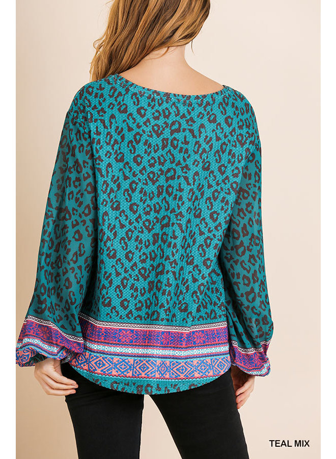 Scarf Print Waffle Top