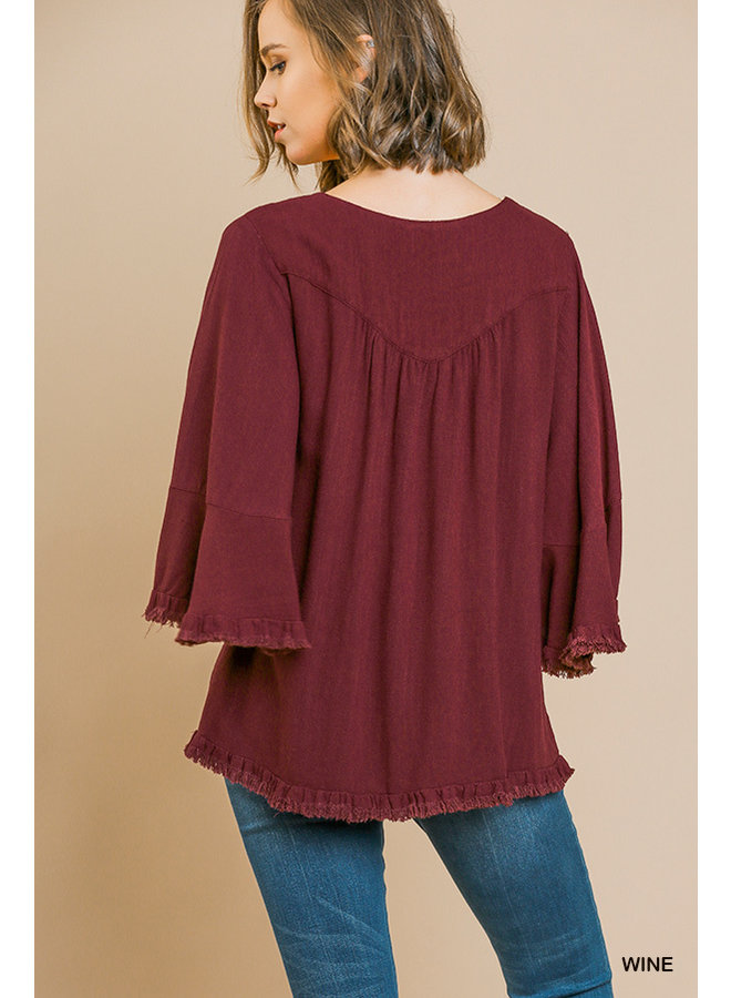Square Neck Fray Hem Top