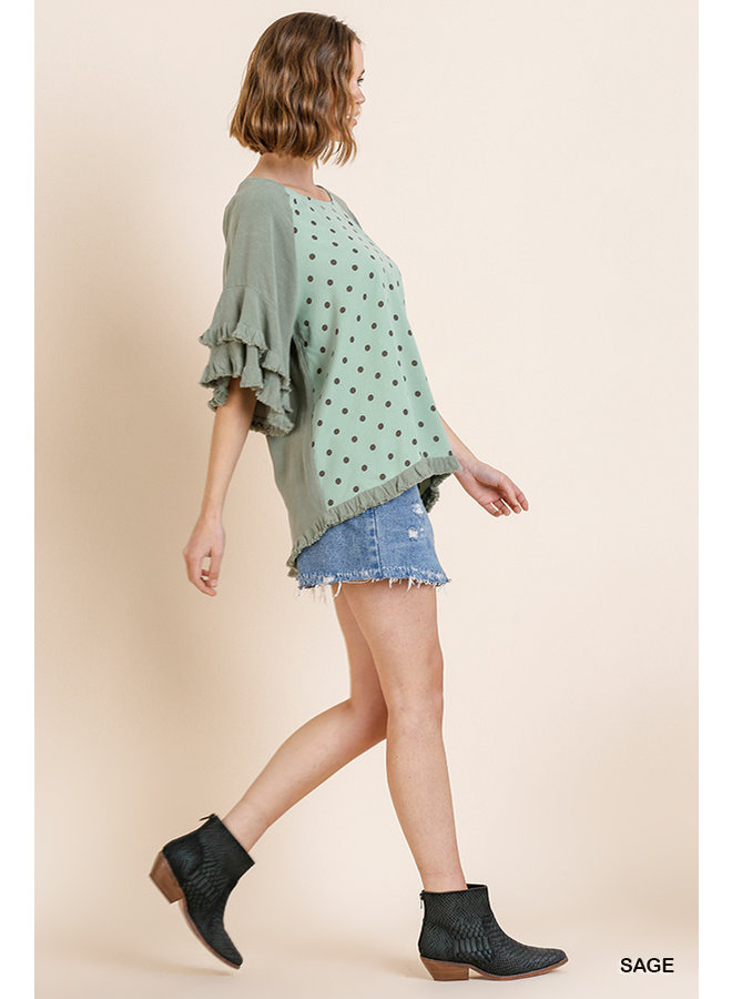 Ruffled Hem Polka Dot Top