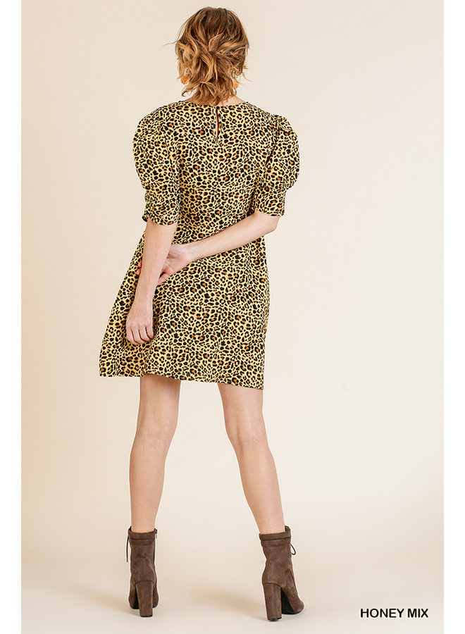 Leopard Dress with Pleated Detail
