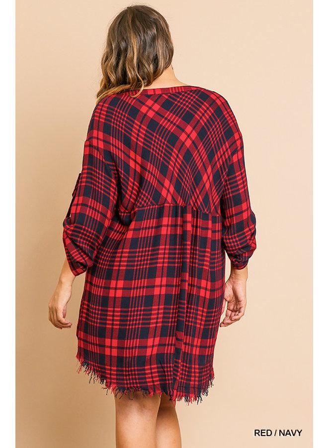 Plaid High-Low Frayed Dress