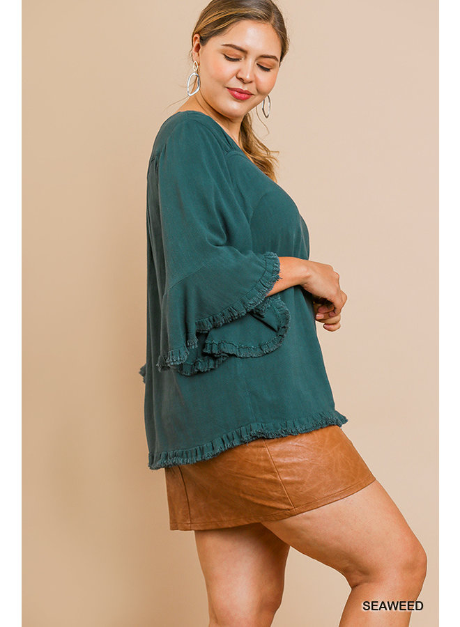 Square Neck Ruffle Sleeve Top