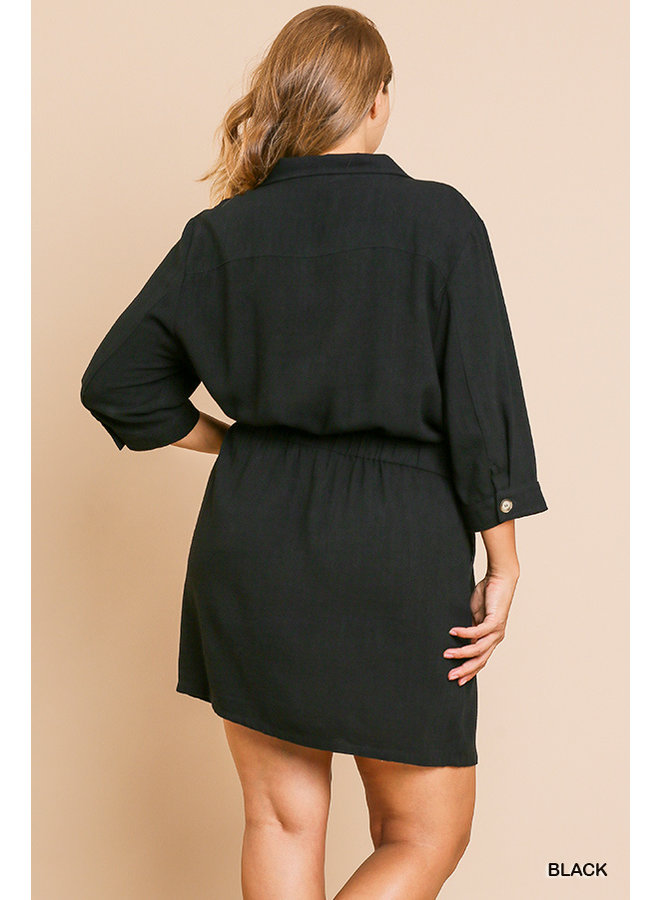 Collared Dress with Elastic Waist