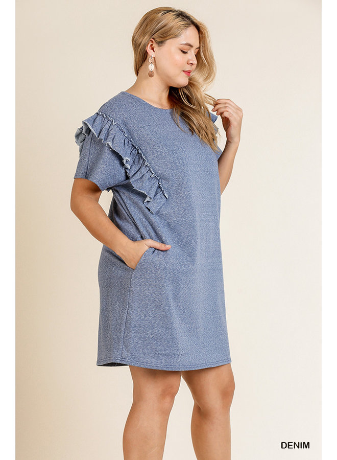 Ruffled Sleeve Knit Dress