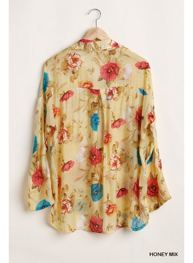 Floral Tab Sleeve Button Up