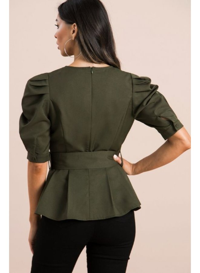 Puff Sleeve Belted Top