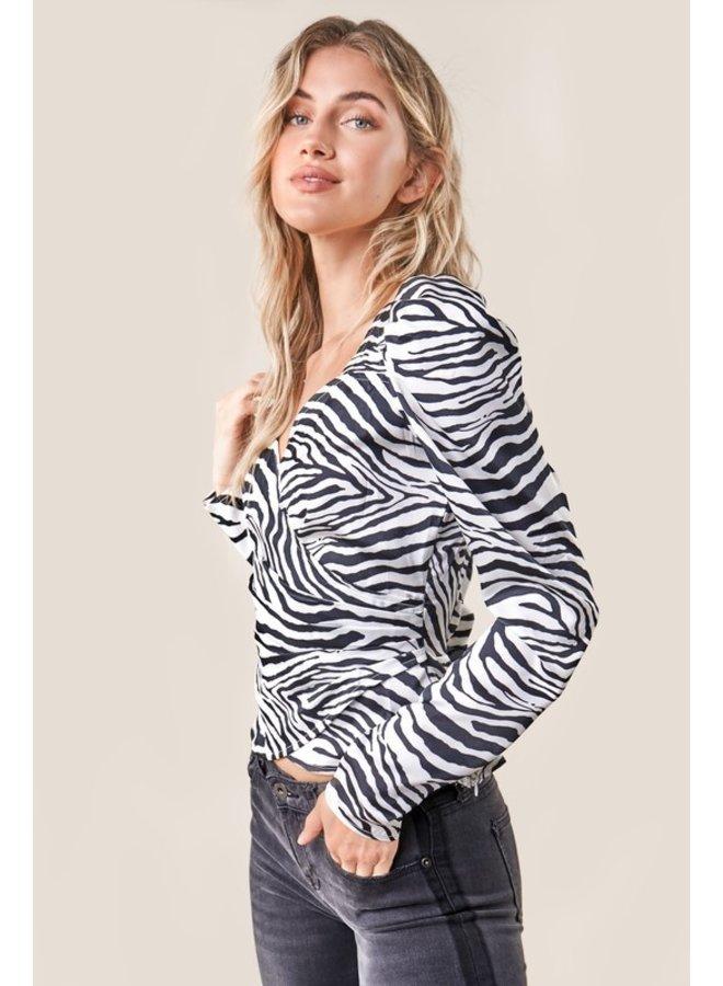 Zebra Wrap Top