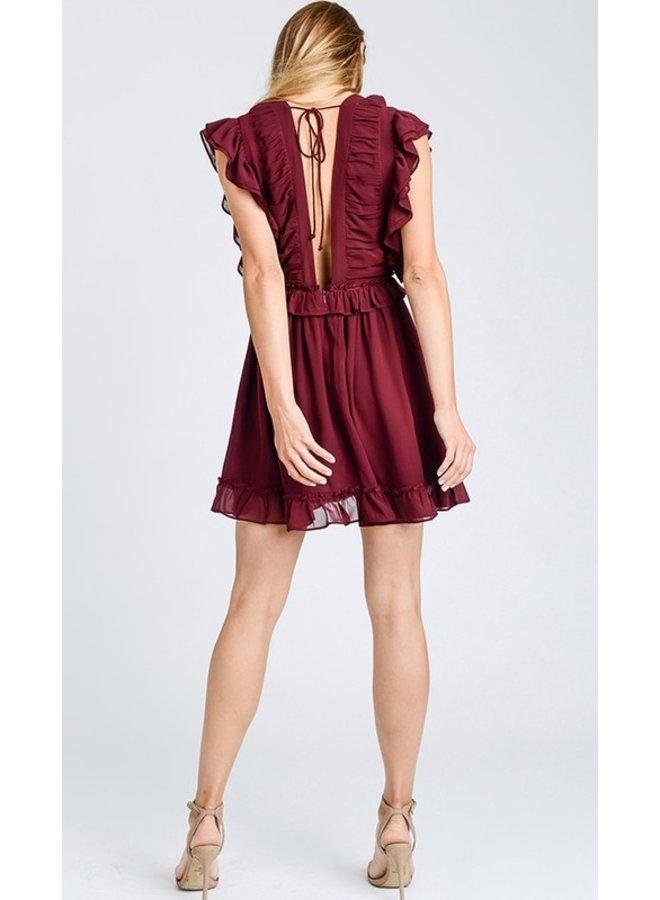 Ruffled Deep-V Dress