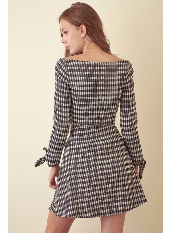 Check Tie Front Dress