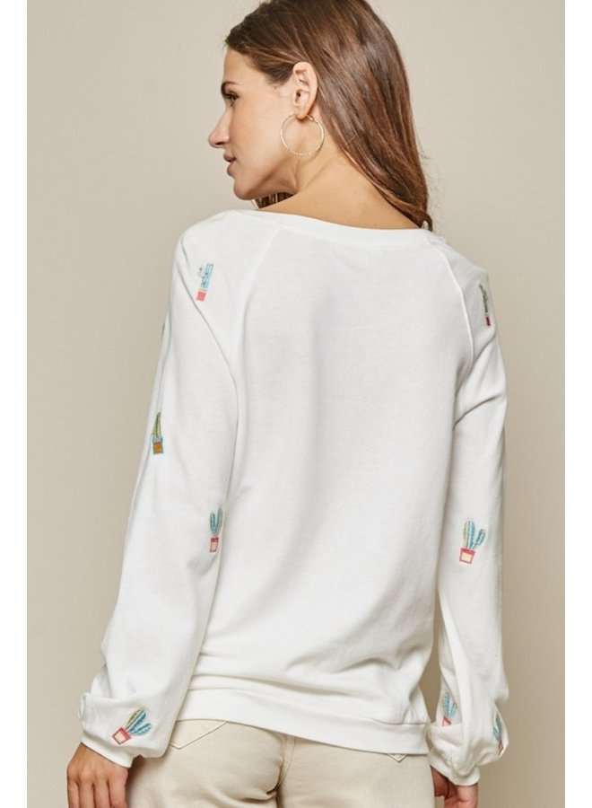 Cactus Embroidered Knit Top