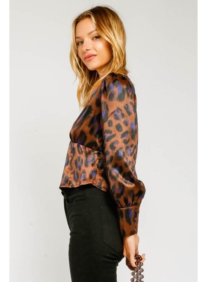 Leopard Puff Sleeve Blouse