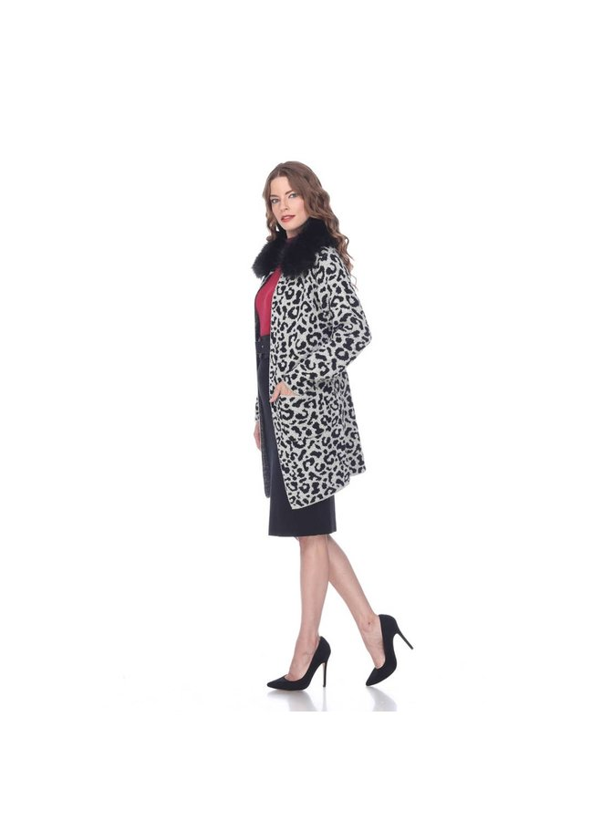 Leopard Cardigan with Removable Fur Collar