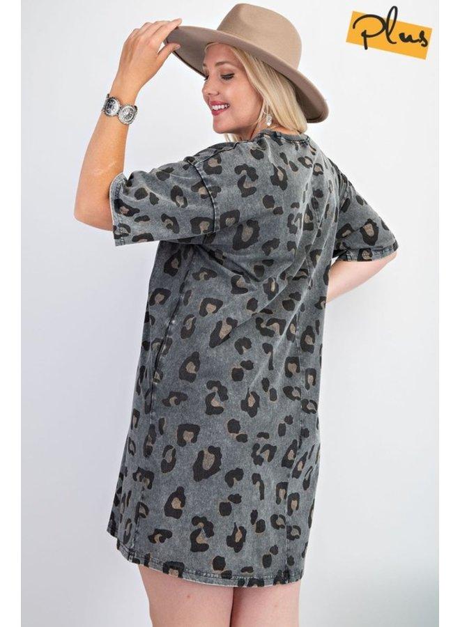 Leopard Knit Tee Dress