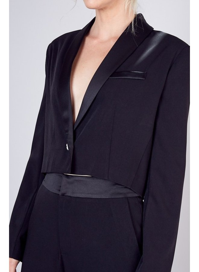 Button Closure Cropped Blazer