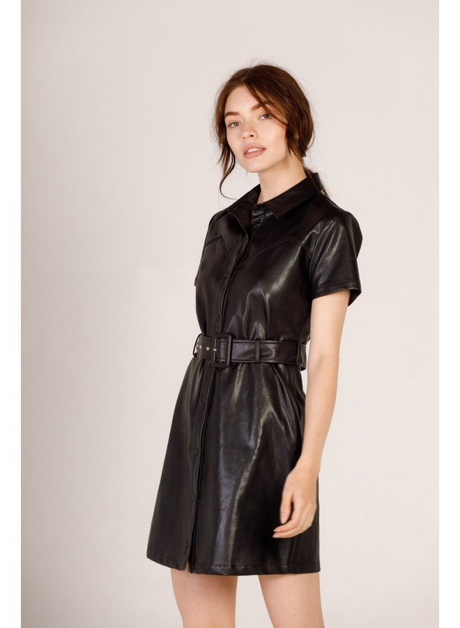Faux Leather Belted Dress