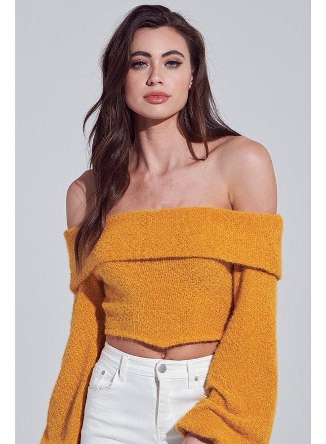 Off-The-Shoulder Fuzzy Top