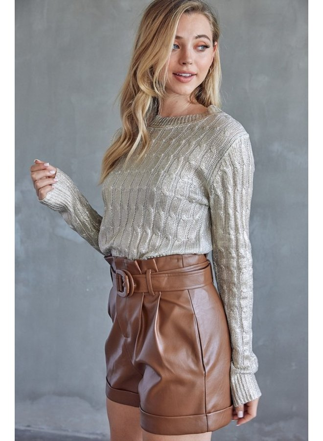 Faux Leather Belted Shorts