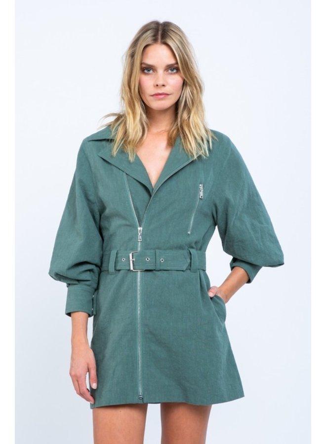 Zipper Belted Mini Dress