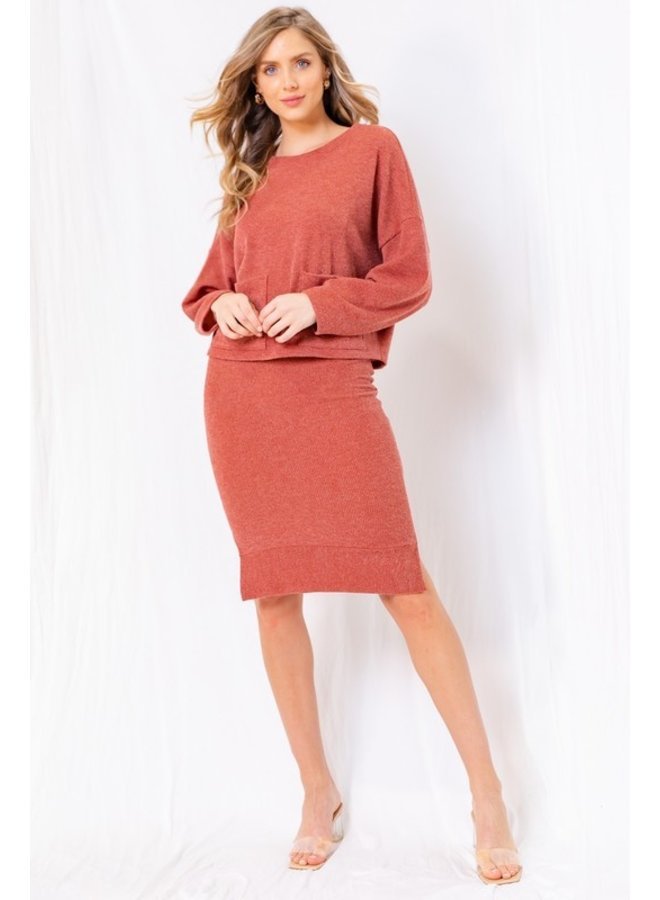 Ribbed Knit Midi Skirt
