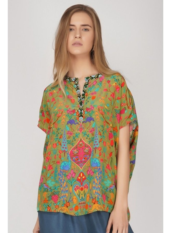 Short Sleeve Peacock Top